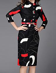 De las mujeres Línea A Vestido Estampado Hasta la Rodilla Escote Chino Algodón