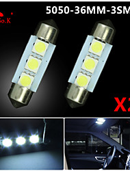 2X White 36mm 3 5050 SMD Festoon Dome Map Interior LED Light Lamp DE3175 3022 12V