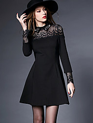 Women's Plus Size A Line Dress,Patchwork Shirt Collar Above Knee Long Sleeve Black Others All Seasons
