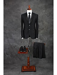 Suits Tailored Fit Notch Single Breasted Two-buttons Cotton Blend Patterns 2 Pieces Black Straight Piped Double (Two) Black Double (Two)