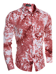 Men's Fashion 3D Tie-Dye Printing Slim Fit Long-Sleeve Shirt
