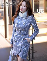 coat gary, colarinho impresso pano de manga longa elegante das mulheres