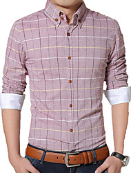 Men's Korean Long Sleeve Shirt , Cotton Casual / Work / Formal / Plus Sizes Print Slim Shirt