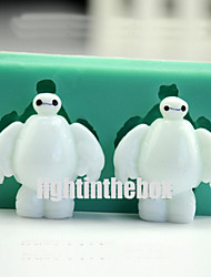 2 in 1 Cute White Robot DIY Silicone Chocolate Pudding Sugar Ice Cake Mold