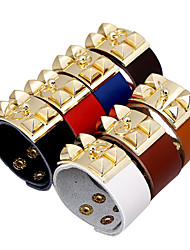 New Punk Simple Wide Alloy Rivet European Brand Leather Bracelets