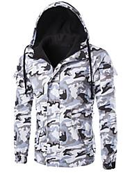 Пальто Простое На подкладке Для мужчин,камуфляж На каждый день Хлопок Хлопок,Длинный рукав