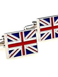 Fashion Copper Men Jewelry Silver Plated Square Enamel UK Flag Logo Delicate Button Cufflinks(1Pair)