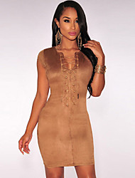 Women's  Faux Suede Crisscross Neck Mini Dress