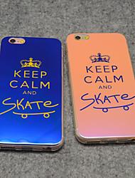 elegante mantenha a calma e skate no azul luz reflexiva blu-ray macio da tampa do caso TPU para 6s iphone / iPhone 6