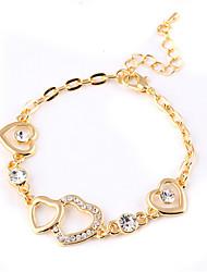 Lureme®Ruili Style Fashion Drill  Big Small Peach Heart Hook-Ups  Gold Plating Bracelet