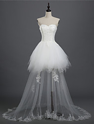 A-line Bride Wedding Dress - White Asymmetrical Sweetheart Lace / Tulle front short back long