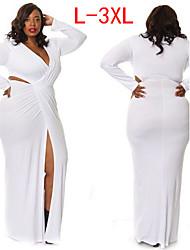 VIVI  Women's Solid Color White / Black plus size Dresses , Sexy / Party V-Neck Long Sleeve