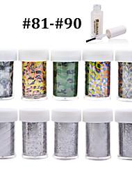 New 100Designs Nail Art Transfer Foil Paper 10pcs + 1pcs Nail Foil Glue (from #81 to #90)