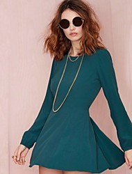 Women's Casual Sexy Crew Neck Backless Long Sleeve Solid  Dress