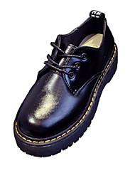 Calçados Femininos - Sapatilhas / Oxfords - Botas Cano Curto / Arrendondado - Rasteiro - Preto / Branco / Vinho - Borracha -Ar-Livre /