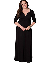 Women's Party/Cocktail / Plus Size Dress,Solid Deep V Maxi Long Sleeve Blue / Red / Black / Brown Polyester Fall