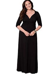 Damen Kleid-Party/Cocktail / Übergröße Solide Tiefes V Maxi Langarm Blau / Rot / Schwarz / Braun Polyester Herbst