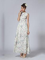 Women's Party/Cocktail Chiffon / Swing Dress,Print Round Neck Maxi Sleeveless White / Black Polyester Summer