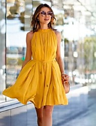 De las mujeres Recto Vestido Para Trabajo / Casual Un Color Sobre la rodilla Escote Redondo Poliéster