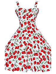Women's Vintage Floral Swing Dress , Strap Knee-length Cotton