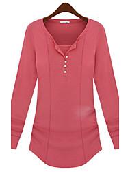 Women's Solid Pink / White / Black / Gray Blouse , V Neck Long Sleeve