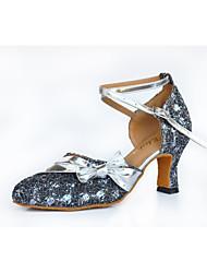 Non Customizable Women's Dance Shoes Latin / Salsa Leatherette Flared Heel Gray