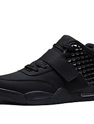 Men's Sneakers Leather Casual Outdoor Flat Heel Hook&Loop/Lace-up Black/ Red/ White Walking