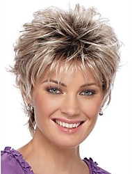 2016 New Curly Short Women Wigs Synthetic Hair Wig Blonde with Dark Roots Ombre hair Wigs