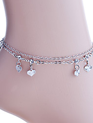 Korean Delicate Hearts And Rhinestone Double Chain Anklet