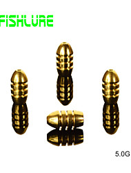 Afishlure Threaded Copper Bullets 5.0g Fishing Weights Fishing Accessaries Copper Pendant Fishing Sinkers 8pcs/lot