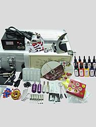 2 Maschinen basekey Tattoo-Set 224 Tattoo-Maschine mit Netzteil Griffe Nadeln Tassen