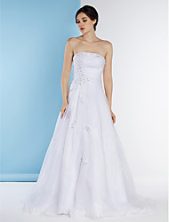 A-line Wedding Dress Sweep / Brush Train Strapless Organza with Beading / Side-Draped