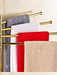 Gold-Plated Solid Brass 4 Bars Rotatable Bathroom Towel Rack