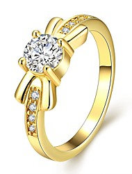 Novel Lovely Women's Bowknot Inlay White Zircon Gold-Plated Brass Statement Rings(Golden,Rose Gold,)(1Pcs)