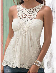 EILA  Women's Patchwork / Lace White Vests , Sexy / Bodycon / Casual / Party Round Sleeveless