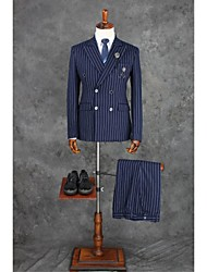 Suits Tailored Fit Notch Double Breasted Four-buttons Polyester Checkered / Gingham 2 Pieces Dark Blue