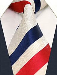 Men's Necktie Tie White Stripes 100% Silk  Casual  Dress