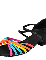 Latin Kid's Dance Shoes  Sandals Satin Chunky Heel Black