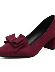 Women's Shoes Bowknot Suede Sweet Chunky Heel Comfort / Pointed Toe Heels Dress / Casual