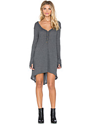 Women's Solid Gray Dress , Casual Deep V Long Sleeve