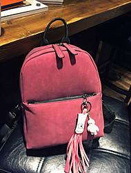 Women PU Bucket Backpack - Green / Red / Gray