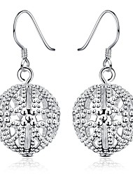 lureme®Fashion Style Silver Plated Ball Shaped Dangle Earrings