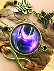 Galaxy DIY Butterfly Gem Handmade Twine Brown Leather Warp Bracelet(1 Pc)