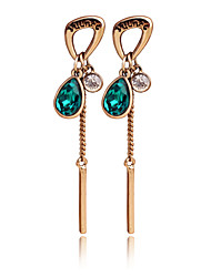 New Fashion Korea&Japan 18K Gold Plated Long Tassel Water Drop Bule Stud Earrings For Women