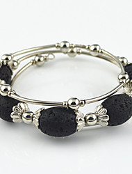Vintage Look Antique Silver Plated Alloy Flower  Lava Rock Stone Adjustable Bracelet(1PC)