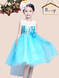 Girl's Blue Dress,Lace Polyester Summer
