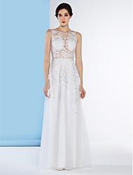 lanting mariée une ligne de dentelle robe de mariée-parole longueur bijou / tulle