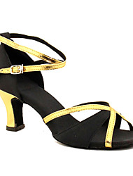 Women's Dance Shoes Latin Satin Chunky Heel Black / Blue / Yellow