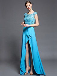 Formal Evening Dress Sheath/Column Jewel Asymmetrical Charmeuse / Matte Satin / Satin Chiffon