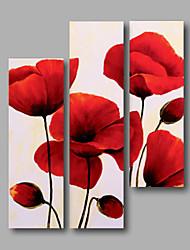 готовы повесить растянутая оформлена ручная роспись маслом холст стены искусства Красные маки цветы абстрактные трех групп